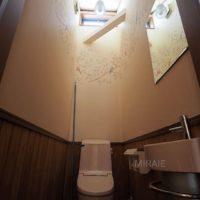 2階トイレは天窓からの明かりが明るい空間