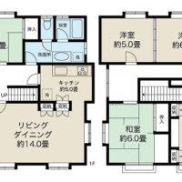 1階にLDK、和室、2階に4部屋個室がある5LDKの間取り