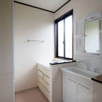 脱衣スペース。洗面台は新しく交換済み。収納も充実しております
