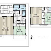 2階に和室のある3LDKの間取り。各部屋が広々とした造りです。