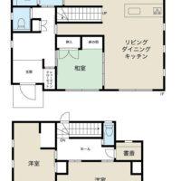 1階がLDK、和室、2階が洋室3部屋(内2部屋は間続き)と書斎がある4LDK+Sの間取り。