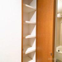 脱衣所の収納棚。タオル・洗剤等の収納に。