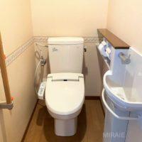 手洗い器付きのトイレ。